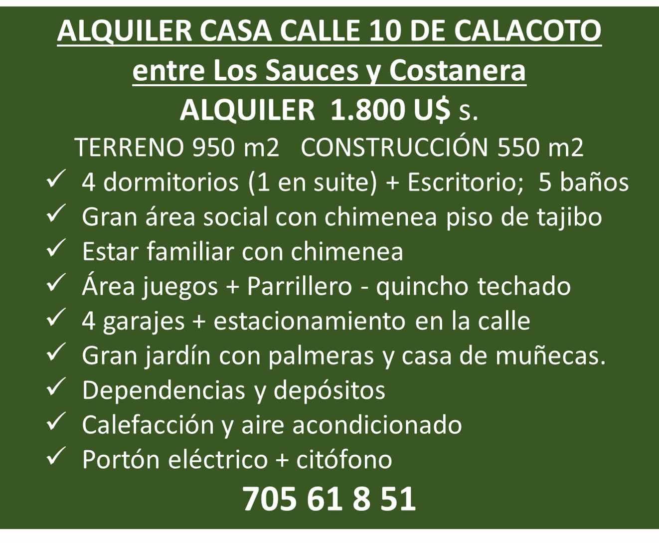 Casa en Alquiler Calle 10 de Calacoto casi esq. Costanera Foto 1
